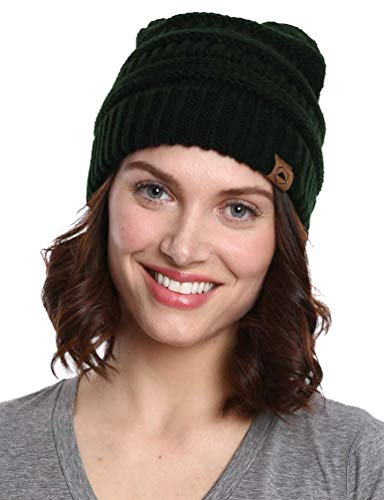 Tough Headwear Cable Knit Beanie - Thick, Soft & Warm Chunky Beanie Hats for Women & Men - Serious Beanies for Serious Style (Dark Forest Green) (Beanie Warm Hat)