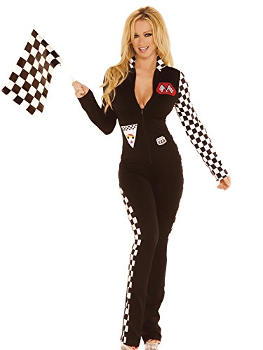 Zabeanco Race Car Driver Costume Jumpsuit Checkered Sleeve Sides Racing Flag]()