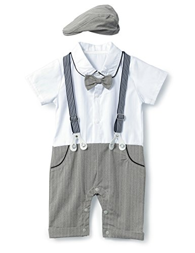 HeMa Island HMD Baby Boy Gentleman Bowtie Tuxedo Onesie Jumpsuit Overall Romper with Hat (0-18M) (Grey, 80(6-9 Month))