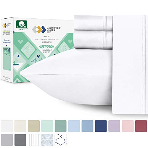 600-Thread-Count 100% Cotton Sheets Pure White King Size, 4-Piece Extra Long-staple Combed Cotton Best-Bedding Sheet Set For Bed, Breathable, Soft & Silky Sateen Weave Fits Mattress 16