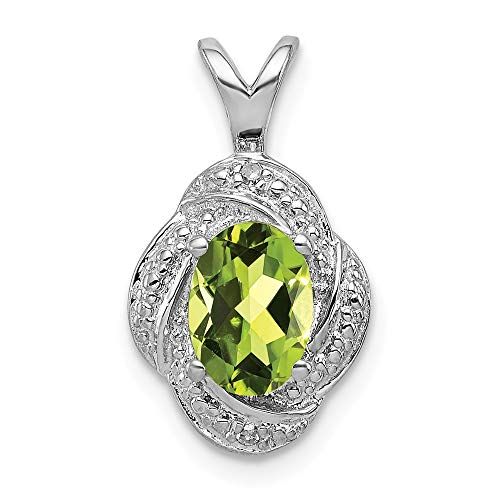 (Green Peridot Oval Solitaire Charm Swirl Drop Pendant Gemstone Fashion Diamond Sterling Silver)
