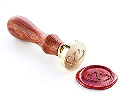 VOOSEYHOME the 2 Hearts Wax Seal Stamp with Rosewood Handle, Decorating on Invitations Envelope Sealers Letters Cards Posters Gift Packings for Birthday Themed Parties Weddings Signatures