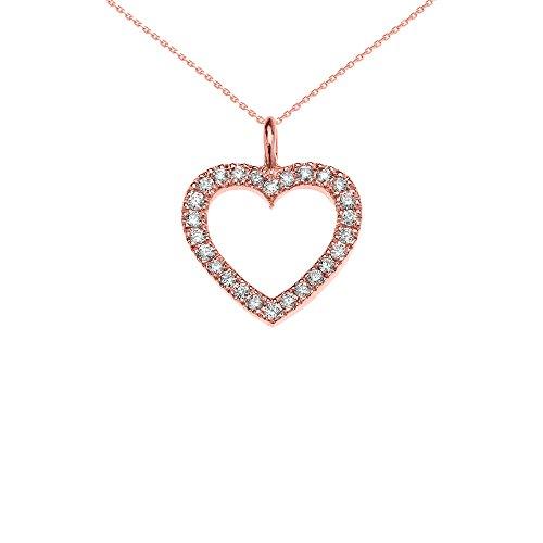 Collier Femme Pendentif 14 Ct Or Rose Ouvert Cœur Diamant (Livré avec une 45cm Chaîne)