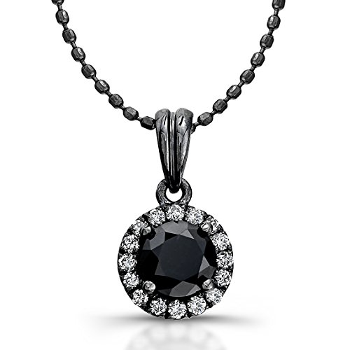 Victoria Kay 14k White Gold with Black Rhodium Black and White Diamond Halo Pendant (1/3cttw), 16″