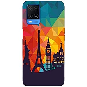 SharpEseller Efil Pattern Designer Multi Coloured Silicone Mobile Back Cover for Oppo A54 5G