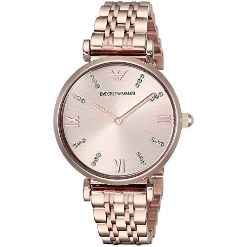 Emporio Armani Women's 'Dress Quartz Stainless Steel Casual Watch, Color:Pink (Model: AR11059)
