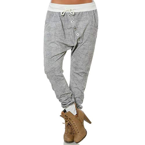 vermers Clearance Women Fashion Hipsters High Waist Harem Pants - Women Casual Button Bloomers Baggy Pants Trousers(2XL, Gray)