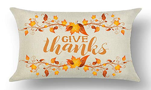Give Thanks Word Art - WePurchase Happy Autumn Fall Y'all Hand Painted Orange Word Art Give Thanks Maple Leaves Decoration Cotton Linen Decorative Home Sofa Living Room Throw Pillow Case Cushion Cover Rectangle 12x20 Inches