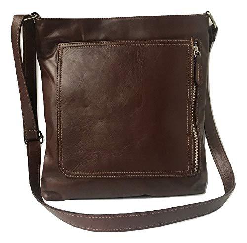 LaGaksta Kate Italian Soft Italian Leather Shoulder Crossbody Bag Purse Medium/Brown
