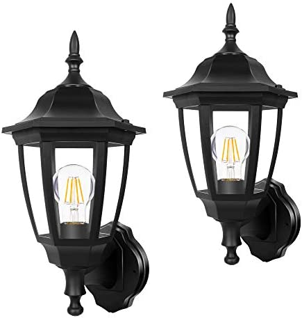 FUDESY 2-Pack 15 1 3 High Classic Outdoor Wall Lantern, 3000K Dimmable LED Edison Filament Bulb Included, Anti-Corrosion Plastic Materials, Black, FDS2542EB2