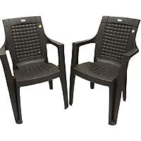 NILKANTH Plastic Chair Set of 2 (Rose Wood)