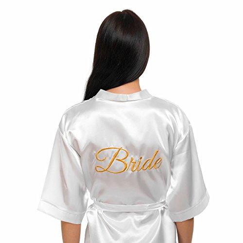 Embroidered Satin Robe (INeedThisRobe Satin Embroidered Kimono Robe For Bride, Bridesmaid, Maid Of Honor (White - Bride In Gold, XS-M))