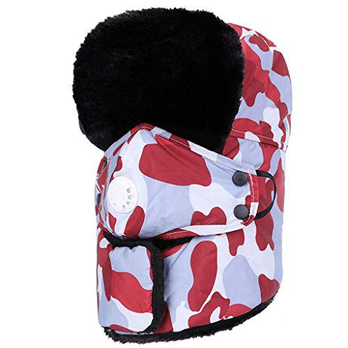 Crytech Unisex Winter Ski Bomber Hat, Windproof Breathable Warm Trapper Cap with Earflap Mask Ushanka Russian Trooper Ski Hat Snow Aviator Hat for Women Men Hunting Skiing Skating (Red)
