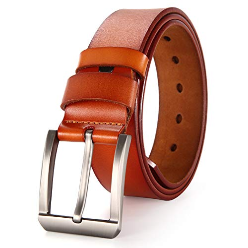 Genuine Leather Belts for Men - Filgate Leather Belt Strong Hand Made Suit Your Jeans & Trousers Pin Buckle Tan ()