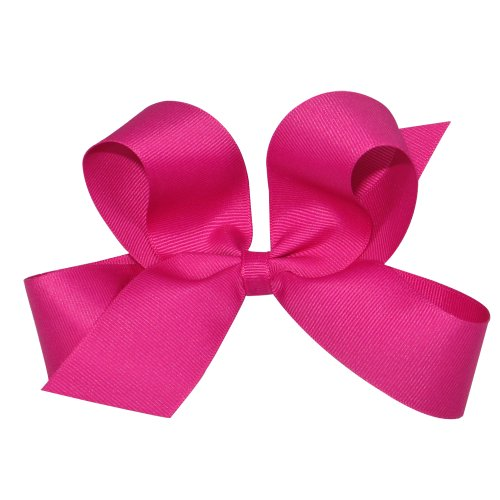 Wee Ones Baby Girls' Large Classic Grosgrain Hair Bow on Barrette w/Plain Wrap - Shocking -