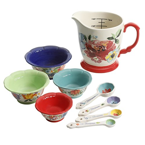 Pioneer Woman Measuring Cups Spoons Kitchen Prep Bowls 9 Pieces ()