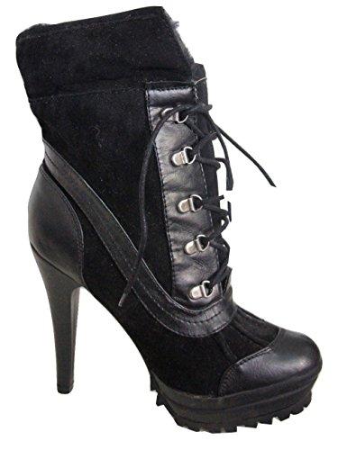 DUNE Black Suede Look Fur Collar & Fur Lined Lace Up Front Platform Ankle Boots PRPGI3I