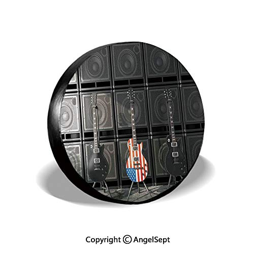 Spare Tire Cover,Black and Us Bass Guitar Electronic Rock Music Theme Digital Graphic Work Decorative,Multicolor,for Jeep Trailer RV SUV Truck Camper Travel Trailer Accessories,15 Inch
