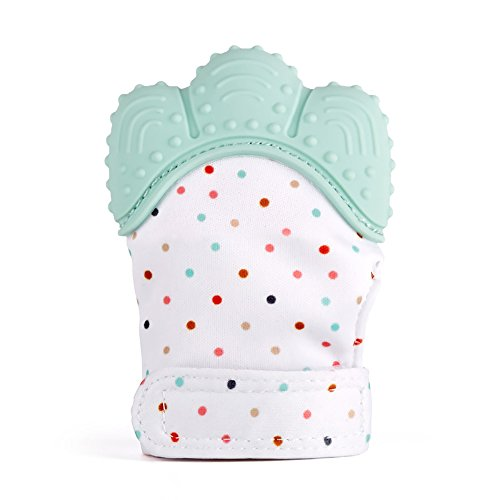 limmyun Teething Mitten Mitt Glove Silicone Baby Teether Toy Comforting Teething Toy BPA Free Safe Food Grade Teething Mitt - Mint ()