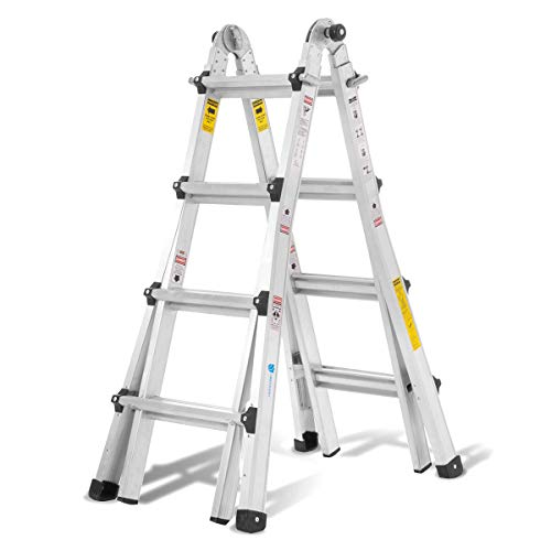 Photo Aluminum Extension Ladder with 300 lb Duty Rating (Load Capacity Type IA), Model 17-Foot Durable and Multi-Purpose Ladder