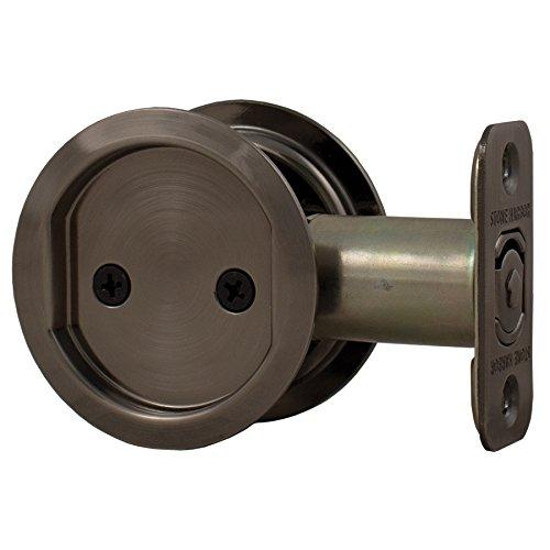 Stone Harbor Hardware, Round Pocket Door Lock Passage Function, 2.375 inch Backset, Antique Nickel, HL81005