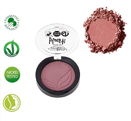 PuroBIO Certified Organic Highly Pigmented Matte Blush Color 06 Cherry Blossom. With Argan Oil, Cocoa Extract, Apricot Powder, Shea Butter, Avocado Oil. VEGAN. NICKEL TESTED. MADE IN ITALY
