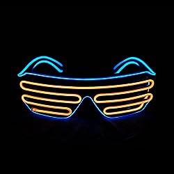 Blue + Orange Shutter El Wire Flashing LED Sunglasses