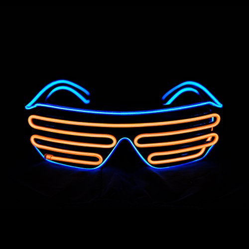 PINFOX Shutter El Wire Neon Rave Glasses Flashing LED Sunglasses Light Up Costumes for 80s, EDM, Party RB03 (Blue + -