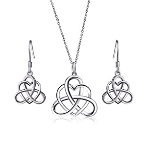 925 Sterling Silver Good Luck Irish Heart with Triangle Celtic Knot Vintage Jewelry Set