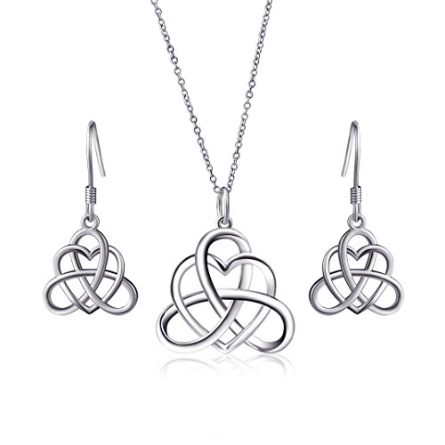 925-sterling-silver-good-luck-irish-heart-with-triangle-celtic-knot-vintage-jewelry-set