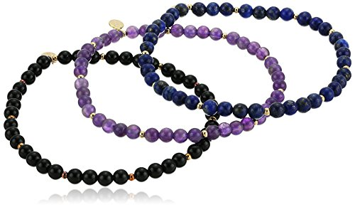 Genuine Black Agate, African Amethyst, and Lapis Lazuli with 18k Gold Plated Bronze Bead Stretch Bracelets (Set of - Agate African Gemstone