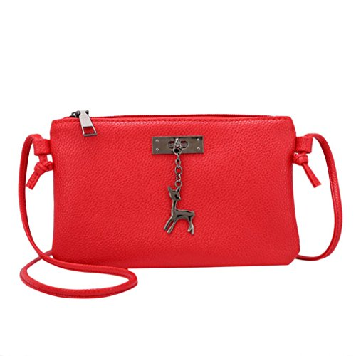 Red Leather Purses Small Messenger Crossbody Womens Coin Bag Deer Shoulder Handbags Bags Inkach wRxqU7
