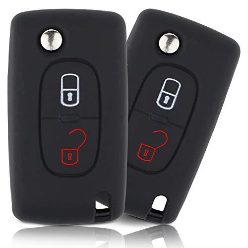 ASARAH Premium siliconen sleutelhoes compatibel met Peugeot, beschermhoes autosleutel cover – zwart PE 2BKB
