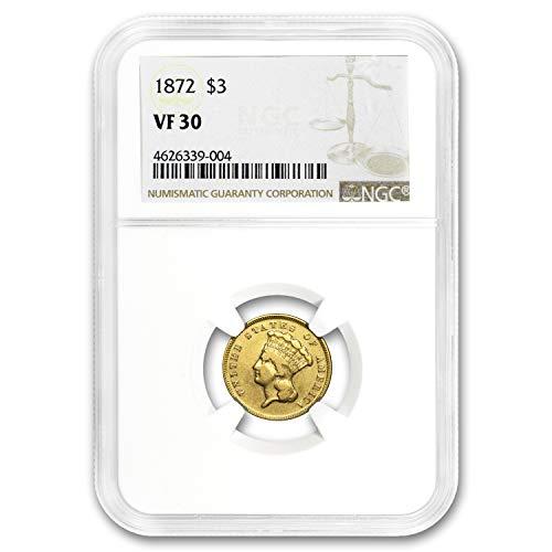 1872 $3 Gold Princess VF-30 NGC $3 VF-30 NGC