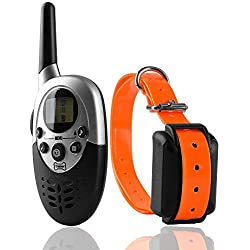 NACRL Dog Training Collar Electronic Rechargeable with Remote and Receiver Vibration,Shock,Sleep 3 Training Modes Waterproof 1000yd Range LCD Screen Orange UP to 1000yd Remote Range