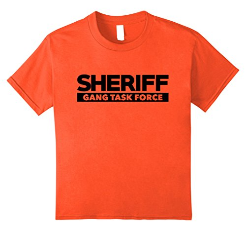 Motorcycle Cop Costumes (Kids Sheriff Gang Task Force T-Shirt LEO Cops Law Enforcement 8 Orange)