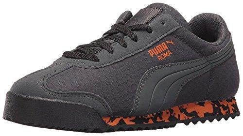 Puma Kids Boy's Roma MS Print (Little Kid/Big Kid) Dark Shadow/Puma Black/Burnt Orange Sneaker (Puma Dark Black Shadow)