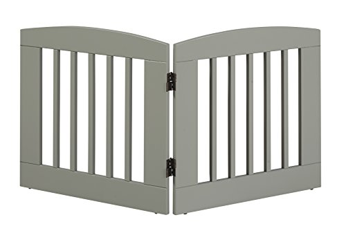 BarkWood Freestanding Wood Pet Gate – 2 Panel Expansion – Medium – 24″H – Grey Finish