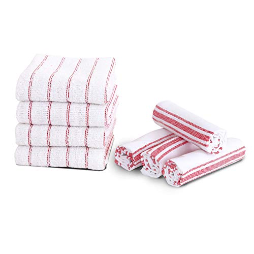 Maspar Kitchen towels, 100% cotton, 16x24 inch, White with Red stripe, 4 Terry, 2 Stripe, 2 Plaid, Absorbent, Quick Dry, Chemical free, Machine Washable, 8 pack set