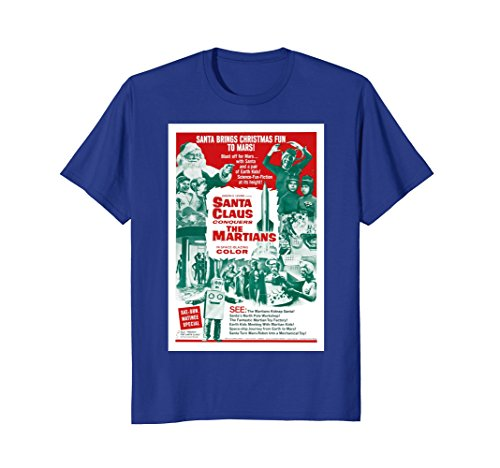 Mens Santa Claus Conquers the Martians T-Shirt Movie Poster Small Royal Blue