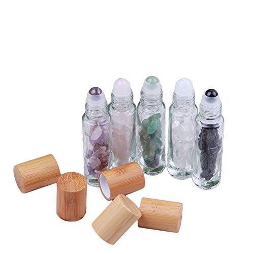 (10ml Natural Gemstone Roller Bottles With Bamboo Lids,5 Pcs Semiprecious Stones Roll On Bottles Healing Chips Inside Essential Oils Rollerball Bottles)
