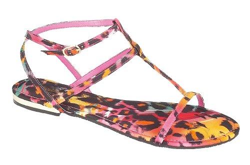 3 Strappy bar T L6736 Fuchsia Print Cinturino Multi uk Sandalo Ladies Leopard Con WHfqvnv8