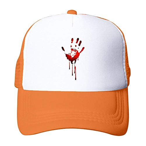 Tnilsk Halloween Scary Bleeding Handprint Mesh Cap Adult Quick Drying Trucker Cap]()