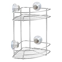 InterDesign 27175 Turn-N-Lock Suction Bathroom Shower Caddy Corner Basket, 2-Tier, Silver