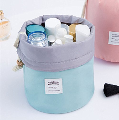 3PC New Fashion Travel Makeup Bag Cosmetic Pouch Handbag Toiletry Antique Case Cylindrical,blue2 by KM-Storage Bag