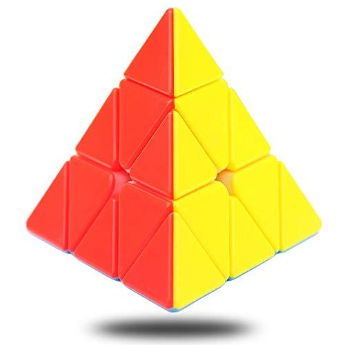 Cfmour Pyramid Cube Stickerless Speed Cube 3x3x3 Pyraminx Rubix Cube Triangle Magic Cube Puzzle