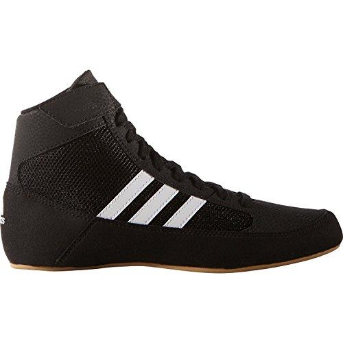 adidas HVC 2 Youth - Laced Wrestling Shoe, Black/White/Grey, 5 M US by adidas