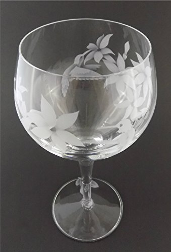 rmioli Michelangelo Masterpiece Italian Crystal Goblet Sandblasted (Sand Carved) Handmade Wine Water Glass Engraved (Hummingbird Jasmine, 500ml (17 Ounce) Red Wine) (Etched Water Glass)