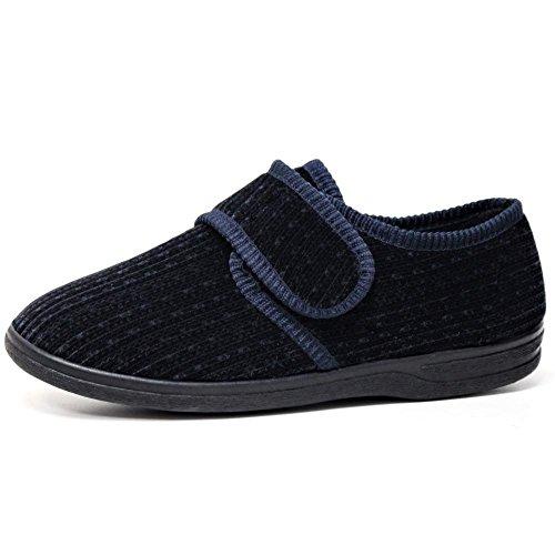 Klettverschluss Schuh Slipper Passform Herren Weite Easy DIABETIKER Close Orthopädische Marineblau 4xaAO