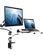 Dual Monitor Mount, Alloyseed Monitor and Laptop Stand, Adjustable Computer Screen Stand Riser with Gas Spring, for LCD Monitor 13-27 inches, Each Arm Holds 8KG